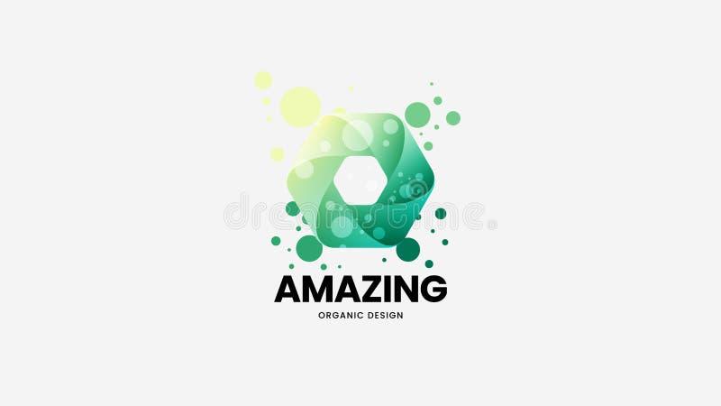Abstrakt organiskt isolerat vektorlogotecken Logotypemblemillustration Förbluffa flerfärgad emblemdesign för mode royaltyfri illustrationer