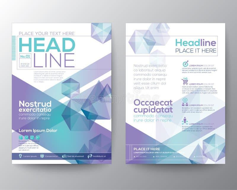 Abstrakt orientering för mall för polygondesignvektor för tidskriftbroschyrreklamblad royaltyfri illustrationer