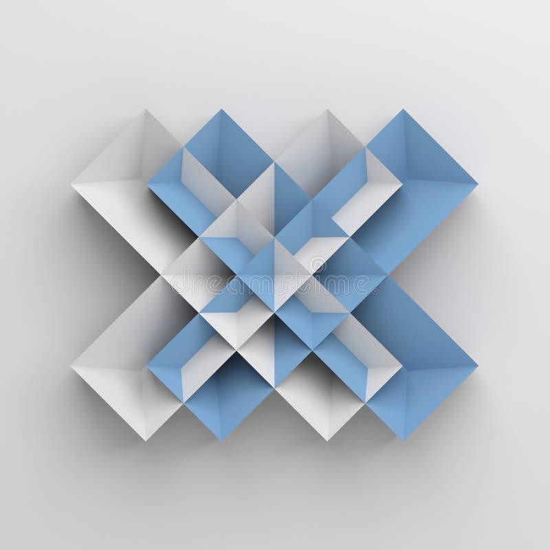 Abstrakt origamiobjekt över vit royaltyfri illustrationer