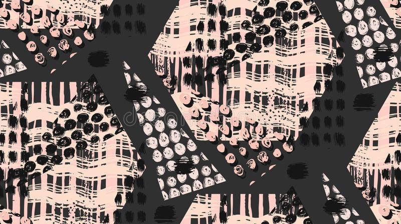Abstrakt ovanlig hand - den gjord geometrisk sömlös modellen eller bakgrund med blänker, vässar texturer, den målade borsten vektor illustrationer
