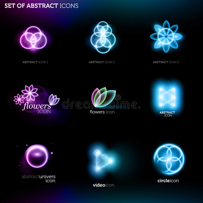 abstrakt oznakuje ikony ustawiać ilustracja wektor