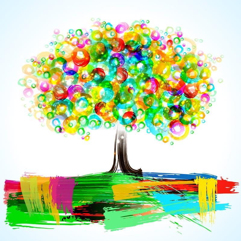 abstrakt painterly tree royaltyfri illustrationer