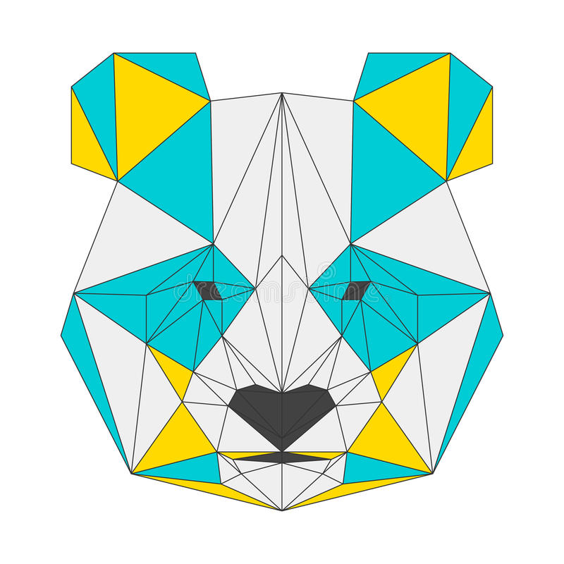 Abstrakt panda på vit bakgrund Geometrisk illustration för Polygonal triangel stock illustrationer