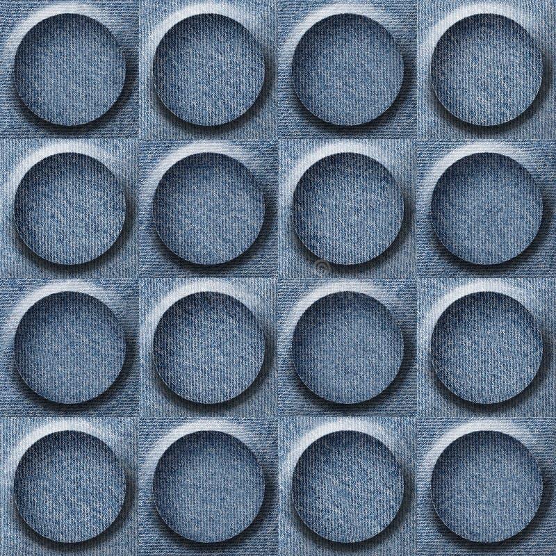Abstrakt panelmodell - sömlös modell - blå grov bomullstvill stock illustrationer