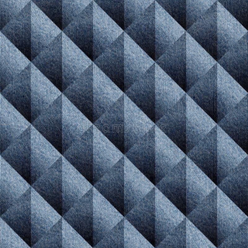 Abstrakt panelmodell - sömlös modell - blå grov bomullstvilljeans stock illustrationer