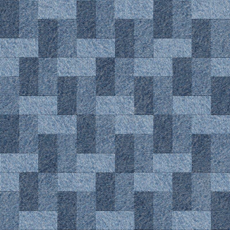 Abstrakt panelmodell - sömlös modell, jeanstextil vektor illustrationer