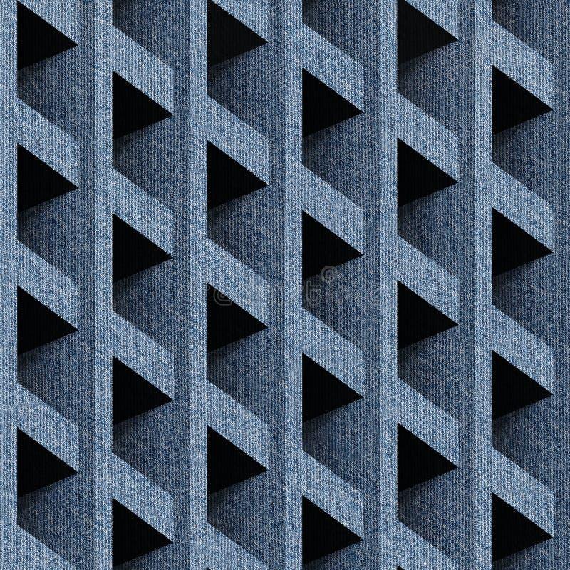 Abstrakt panelmodell - sömlös modell - jeanstorkduk royaltyfri illustrationer