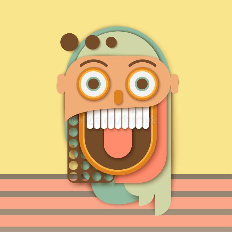Abstrakt papierowa ludzka szalona uśmiechnięta twarz Kolorowi geometryczni kształty ilustracja wektor
