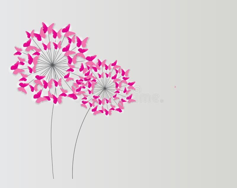 Abstrakt Papierowy Ciie Out Motyliego kwiatu tło Wektorowy illus ilustracji