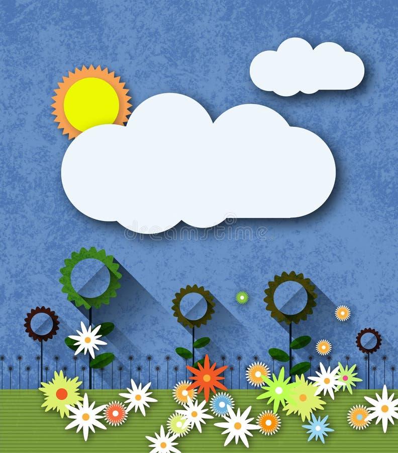 Abstrakt papper som klipps med solen, molnet och blommor på textur för blått papper royaltyfri illustrationer