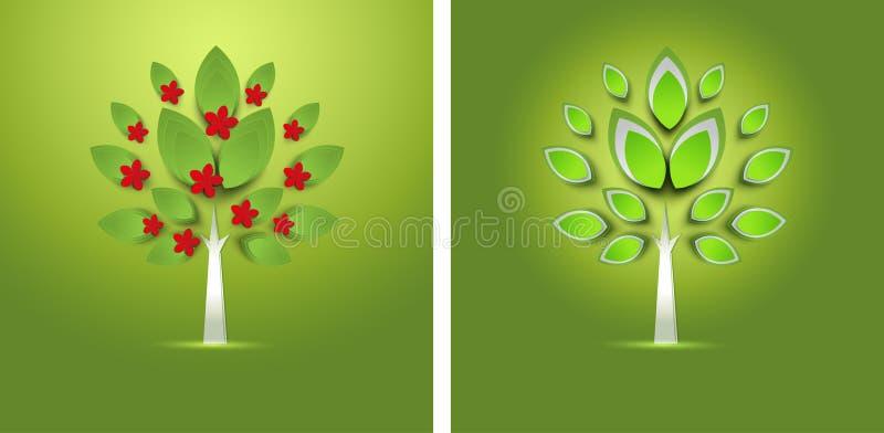 Abstrakt pappers- vårträd med blommakortet vektor illustrationer