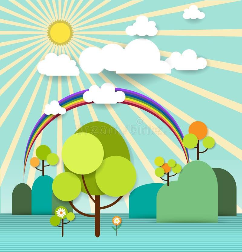Abstrakt pappers- vårträd med solskenmolnet och blommor vektor illustrationer