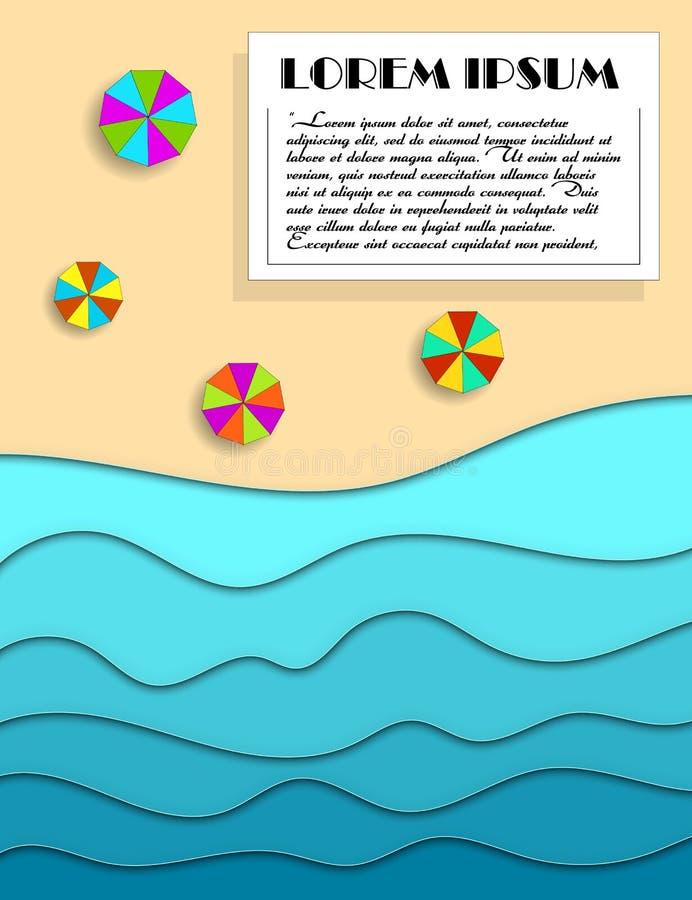 Abstrakt pappers- v?gor och strand f?r konsthavs- eller havvatten Sommarbakgrund med vågor för seacoastpappershav med linjer och vektor illustrationer