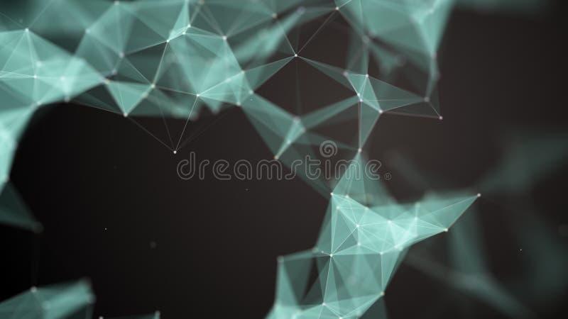 abstrakt partikel Röranätverk Stora data för futuristisk plexussamling, tolkning 3d Efterföljd av dunsten royaltyfri illustrationer