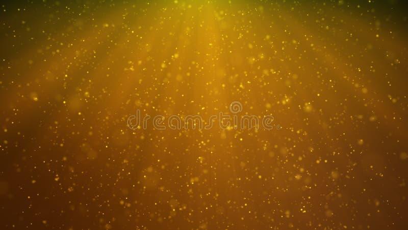 Abstrakt partikelbakgrund av att skina, mousserande gula partiklar Härliga gula sväva dammpartiklar med royaltyfri illustrationer