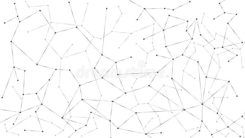 Abstrakt partikelbakgrund R?ran?tverk Knutpunkter f?rbindelse i reng?ringsduk Stora data f?r futuristisk plexussamling Isolerad v royaltyfri illustrationer