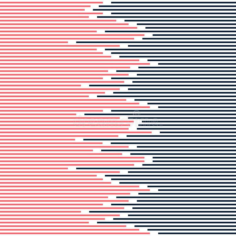 Abstrakt paskować linie deseniują zmrok błękitnego i różowego na białej tło tekstury minimalnym projekcie - royalty ilustracja