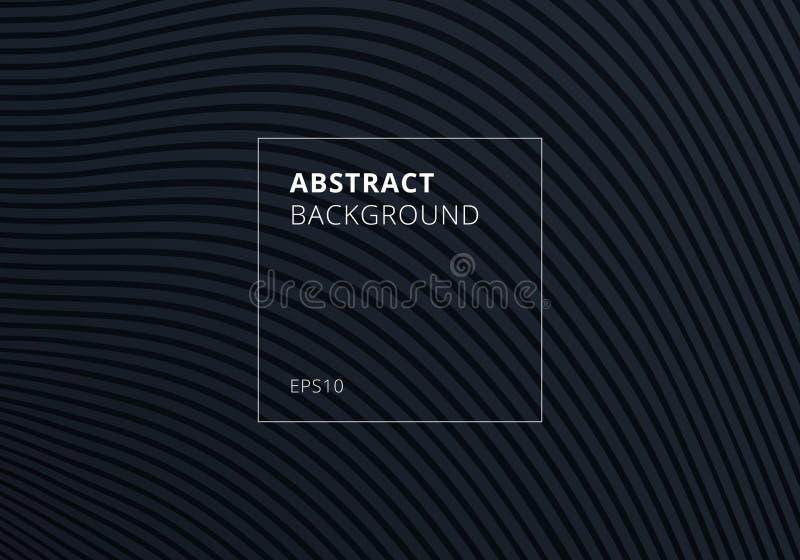 Abstrakt paskujący fala wyginający się linia wzór na czarnej teksturze i tle ilustracja wektor