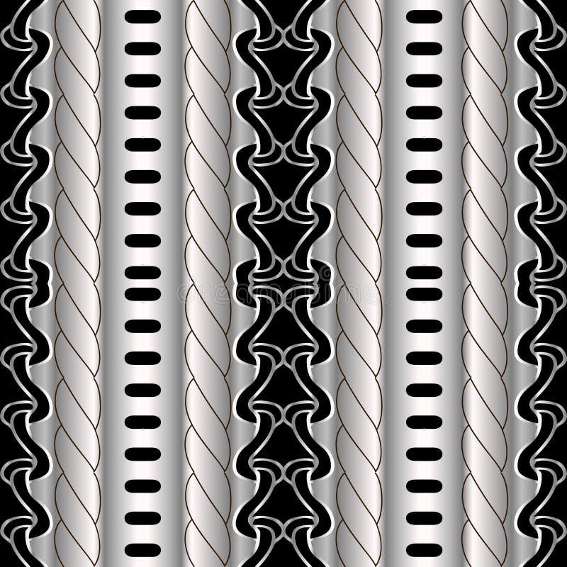 Abstrakt paskujący geometryczny czarny i srebny wektorowy bezszwowy bord royalty ilustracja