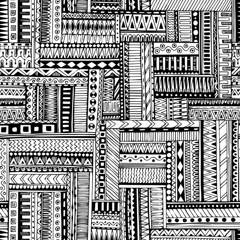 Abstrakt paskujący textured geometryczny plemienny bezszwowy wzór Wektorowy czarny i biały tło Niekończący się tekstura może używ royalty ilustracja