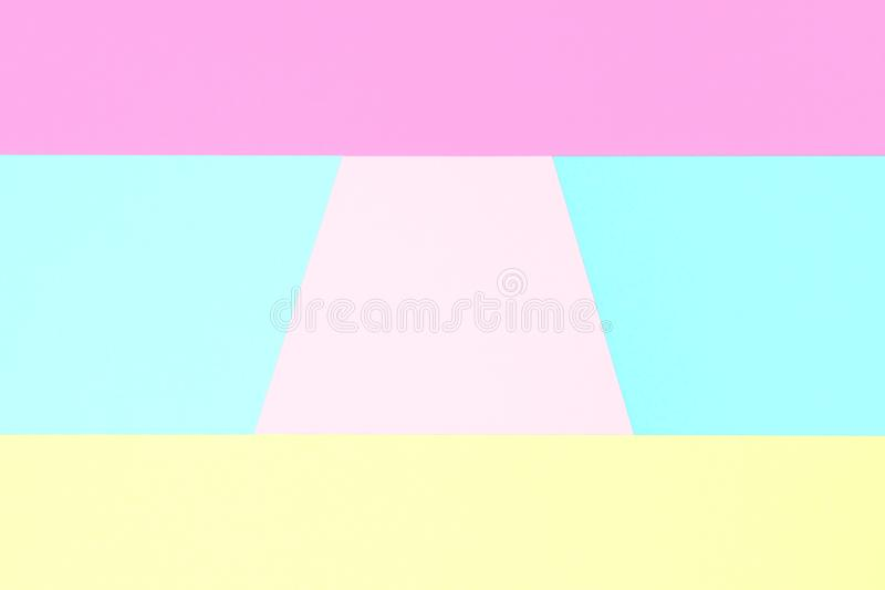 Abstrakt pastell färgad pappers- texturminimalismbakgrund Minsta geometriska former i pastellfärger arkivfoton