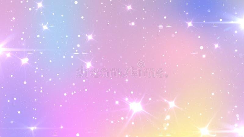Abstrakt pastellfärgad felik bakgrund med regnbågeingreppet Kawaii universumbaner i prinsessafärger Fantasilutningbakgrund med royaltyfri illustrationer