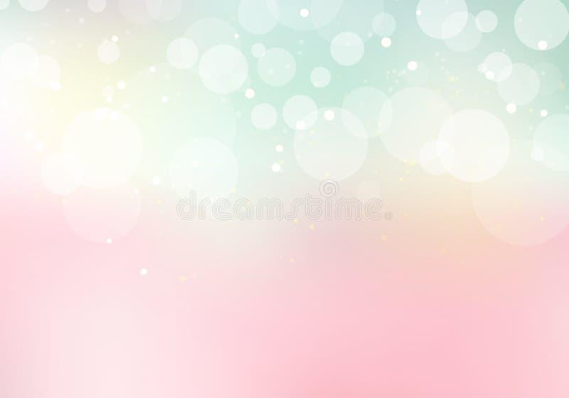 Abstrakt pastellfärgad söt färg gjorde suddig bakgrund med bokeh och blänker royaltyfri illustrationer