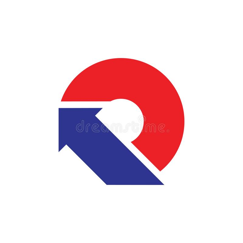 Abstrakt pil för bokstavsnolla-cirkel upp geometrisk logovektor stock illustrationer