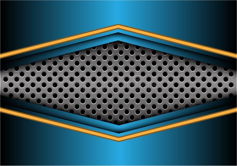 Abstrakt pil för gulingblåttmetall på vektor för bakgrund för design för cirkelingreppsbaner modern futuristisk stock illustrationer