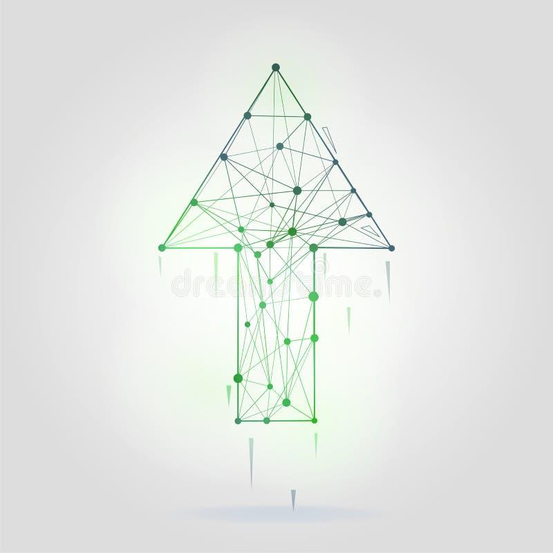Abstrakt pil med illustrationen för wireframestrukturvektor på grå bakgrund stock illustrationer