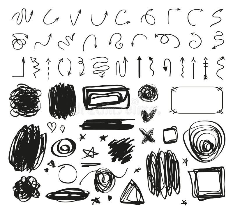 abstrakt pilar Geometriskt tecken för Grunge på vit Hand drog tilltrasslade symboler Kaotiska former för design Linje konst Cirkl vektor illustrationer
