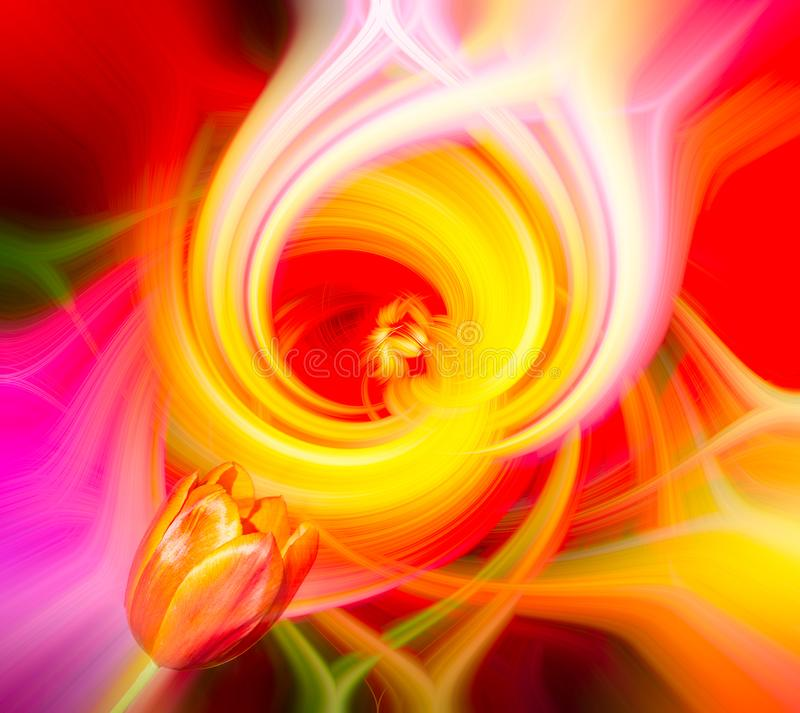 Abstrakt piruetteffektbakgrund med blomman fotografering för bildbyråer