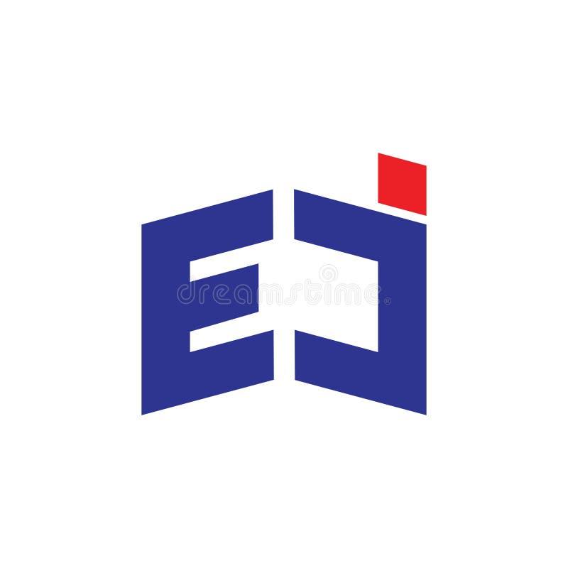 Abstrakt pisze list ej logo prostego geometrycznego wektor ilustracji