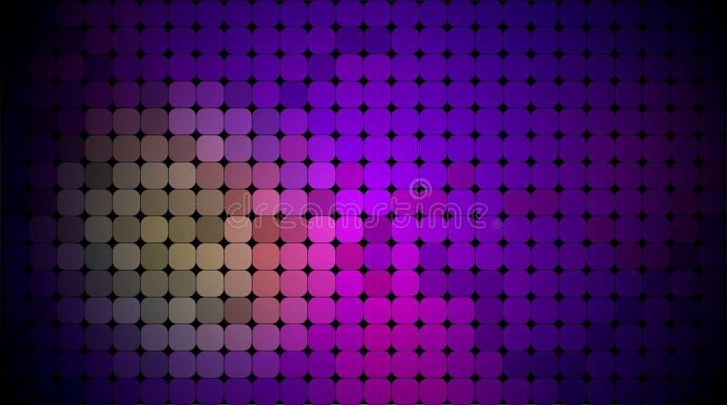 Abstrakt PIXEL för vektor eller geometrisk modellbakgrund Illustration av fyrkanter med blå suddig lutningbakgrund för färg stock illustrationer