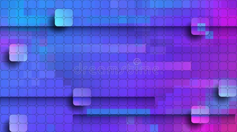 Abstrakt PIXEL för vektor eller geometrisk modellbakgrund Illustration av fyrkanter med blå suddig lutningbakgrund för färg vekto stock illustrationer