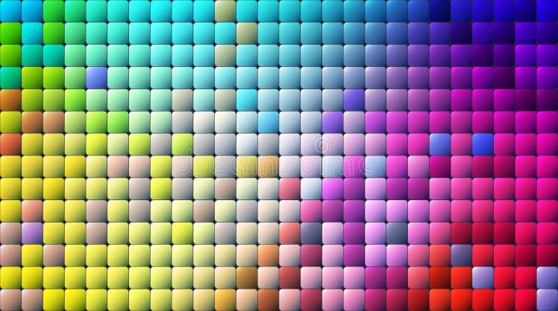 Abstrakt PIXEL för vektor eller geometrisk modellbakgrund Illustration av fyrkanter med blå suddig lutningbakgrund för färg vektor illustrationer