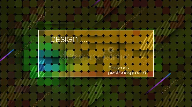 Abstrakt PIXEL för vektor eller geometrisk modellbakgrund Illustration av fyrkanter med blå suddig lutningbakgrund för färg royaltyfri illustrationer