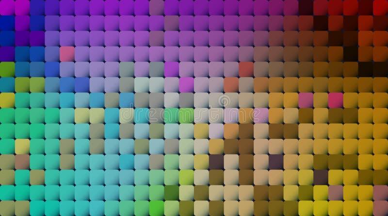 Abstrakt PIXEL f?r vektor eller geometrisk modellbakgrund Illustration av fyrkanter med bl? suddig lutningbakgrund f?r f?rg vektor illustrationer