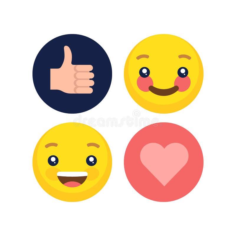 Abstrakt plan samling för emoji för stildesignsinnesrörelse royaltyfria foton