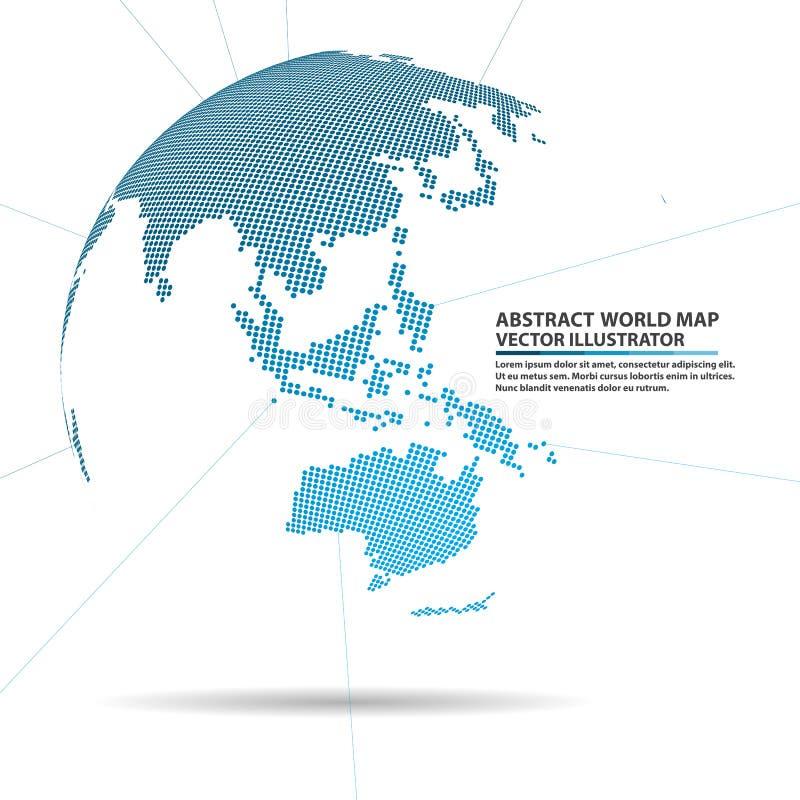 Abstrakt planet, anslutning för globalt nätverk, beståndsdelvektorwor stock illustrationer