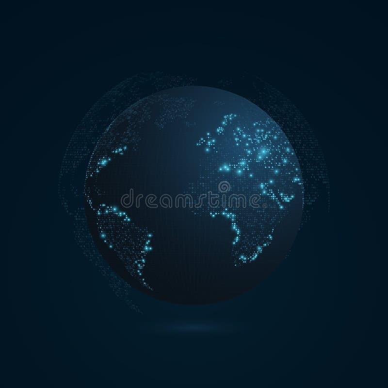 Abstrakt planet på ett mörker - blå bakgrund Jord gammal värld för illustrationöversikt blå lampa Science fiction och high tech M royaltyfri illustrationer