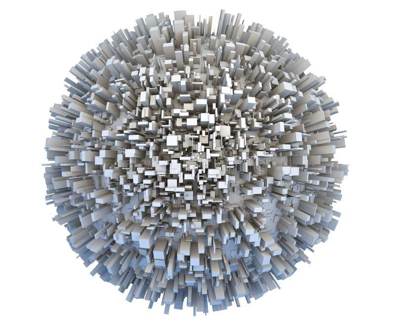 Abstrakt planet som 3d täckas av enkla byggnader för askskyskrapastad stock illustrationer