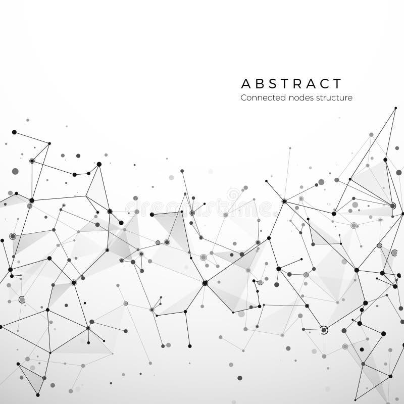 Abstrakt plexusstruktur av digitala data, rengöringsduken och knutpunkten Partiklar och prickanslutning Atom- och molekylbegrepp stock illustrationer