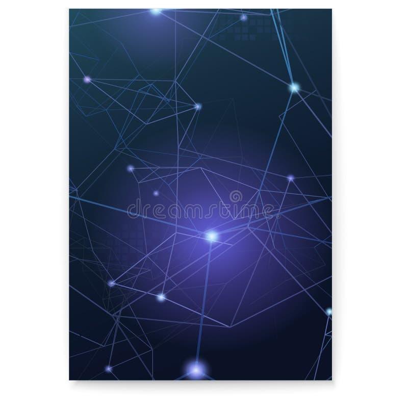 Abstrakt pokrywa z plexus kształtuje, wektorowa ilustracja Pojęcie łącze komunikacyjny Siatka z punktami łączącymi obok royalty ilustracja