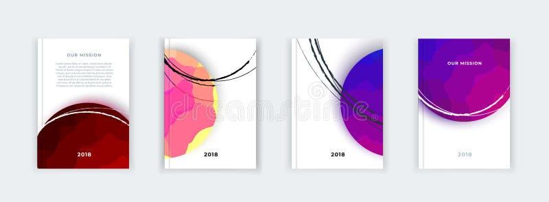 Abstrakt pokrywy projekt, biznesowy broszurka szablon, układ, raport, magazyn lub broszura w A4 w barwiącym kształcie, ilustracja wektor
