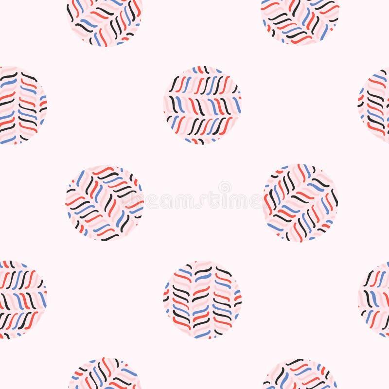 Abstrakt polka Dot Circle Seamless Vector Pattern stock illustrationer