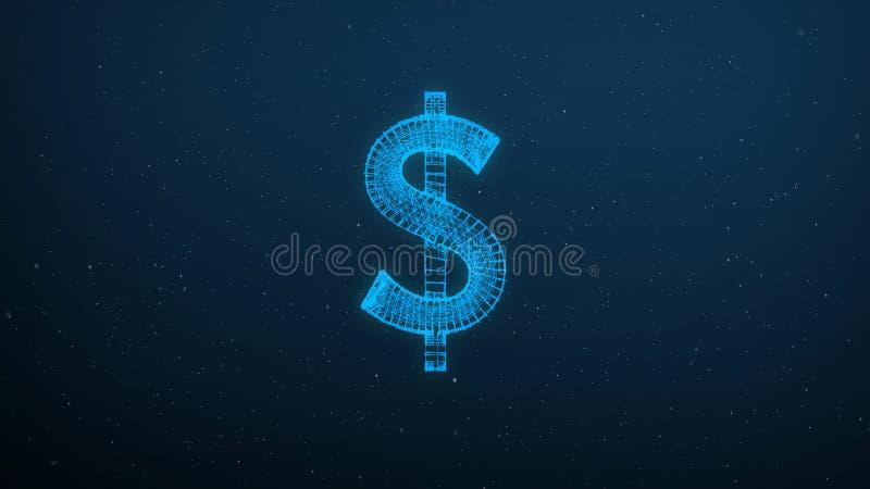 Abstrakt polygonal amerikanskt ingrepp för dollarsymbolswireframe på blå bakgrund royaltyfria bilder