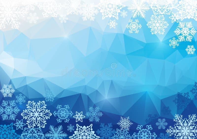 Abstrakt polygonal bakgrund för vektor med snöflingor royaltyfri illustrationer