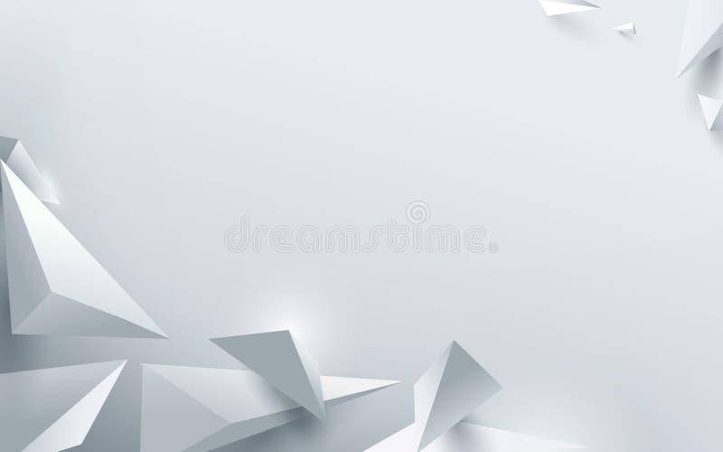 Abstrakt polygonal bakgrund för vit 3d också vektor för coreldrawillustration stock illustrationer