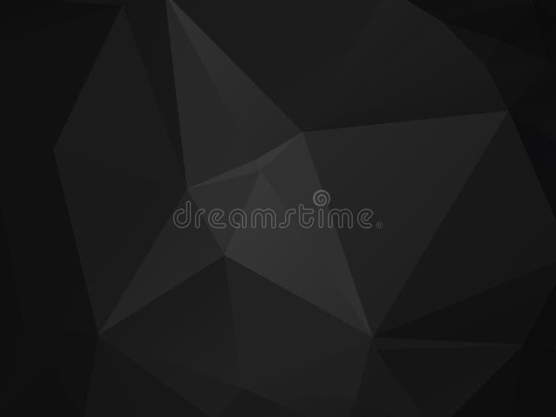 Abstrakt polygonal bakgrund, mörk vektor - grå svart mosaikmodell vektor illustrationer